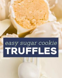 These Sugar Cookie Truffles are the perfect no-bake holiday dessert! Using just 3 ingredients, plus some optional sprinkles, you can have these whipped up in no time! #truffles #sugarcookie #holidayrecipes #christmas #christmastruffles #dessertrecipe #easydessert #trufflerecipes #holidaytreatrecipes #holiday #easyrecipe #christmasrecipe #sugarcookietruffles #whitechocolate