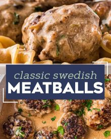 These Classic Swedish Meatballs are made with tender homemade meatballs in a rich and creamy brown gravy.  So simple to make, easy to prep ahead, and perfect to serve up to the family for dinner over some egg noodles or mashed potatoes! #meatballs #swedish #pork #beef #easyrecipe #dinner #comfortfood