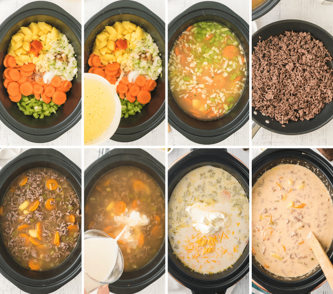 step by step how to make cheeseburger soup