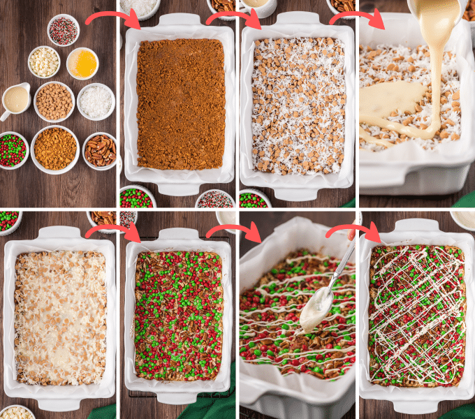 step by step how to make christmas 7 layer bars
