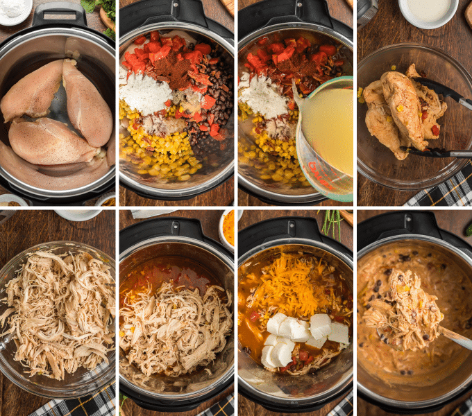 step by step how to make creamy crack chicken chili