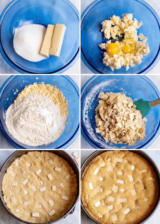 step by step how to make a cookie cake