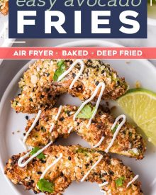 These everything bagel seasoned avocado fries are cooked in the air fryer and are a healthy and super easy side dish/appetizer. Perfectly crispy on the outside and so creamy in the middle, they're great on their own with a dipping sauce, or as a topping on a burger or sandwich! #airfryer #airfryerrecipe #avocado #avocadorecipe #avocadofries #friedavocado #snack #appetizer