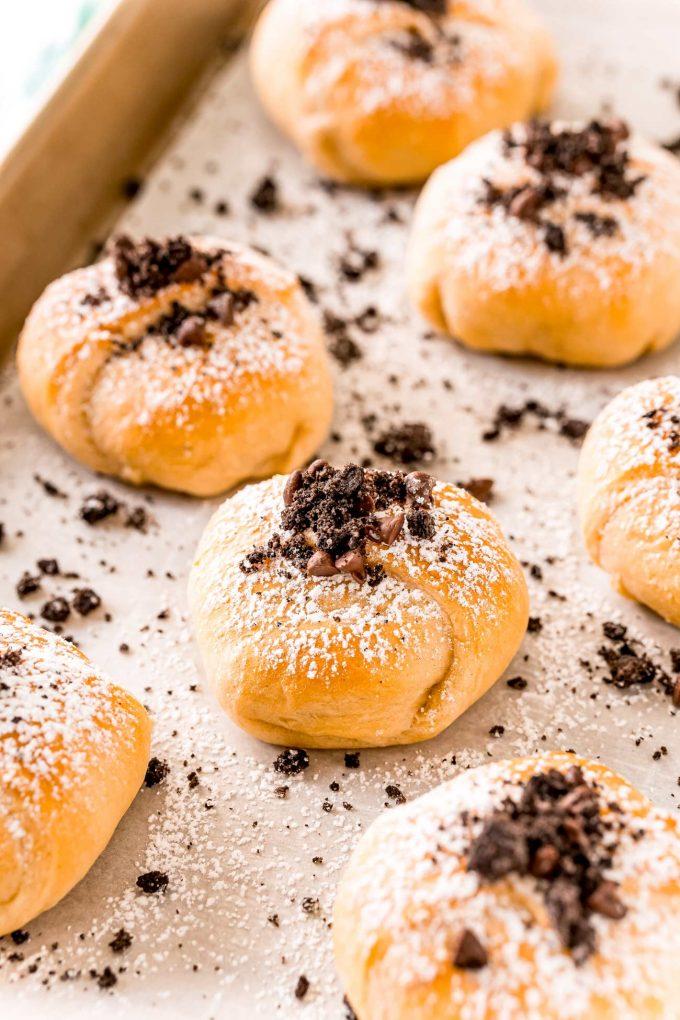 baked oreos on baking sheet