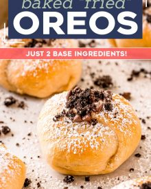 """With just 2 base ingredients (plus a totally optional ingredient or two), these baked """"fried"""" Oreos are an easier (and much less oily) version of your favorite fair food! This amazing dessert is sure to be a family favorite! #oreo #fried #baked #fairfood #dessert #dessertrecipe"""