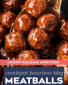 These crockpot bourbon bbq meatballs take just 5 minutes to prep and are the best appetizer for game day, football season or a fun night at home with the family! Sweet, savory and tangy, these meatballs will be the hit of your next party! #meatballs #party #appetizer #gameday #cocktailmeatballs #bourbon #bbq #crockpot #slowcooker