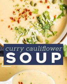 This Instant Pot cauliflower soup is quick and easy. Using simple ingredients, this soup is low carb, vegan, and gluten free. Flavored with warm curry spices, garlic and ginger and finished with creamy coconut milk, this is a cozy soup you can feel good about eating! #cauliflower #soup #instantpot #pressurecooker #vegan #lowcarb #keto #glutenfree