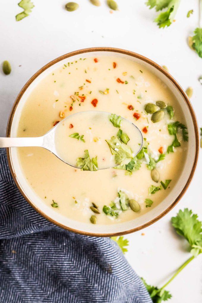 spoonful of cauliflower soup