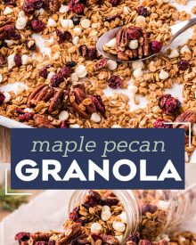 This delicious maple pecan granola recipe is the perfect way to start off your day!  Naturally sweetened with maple syrup, and made with simple pantry ingredients, you'll love this easy to make recipe! #breakfast #brunch #homemade #granola #healthy #maple #pecan #natural