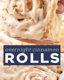 These Overnight Cinnamon Rolls are so soft and fluffy and slathered in a velvety cream cheese icing!  You'll love this warm and gooey breakfast recipe, and how easy it is to make ahead of time! #cinnamonrolls #cinnamon #breakfast #homemade #brunch #cinnabon #cinnamonbun