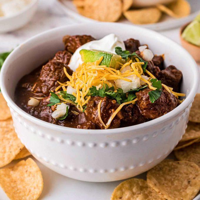 white bowl of texas chili