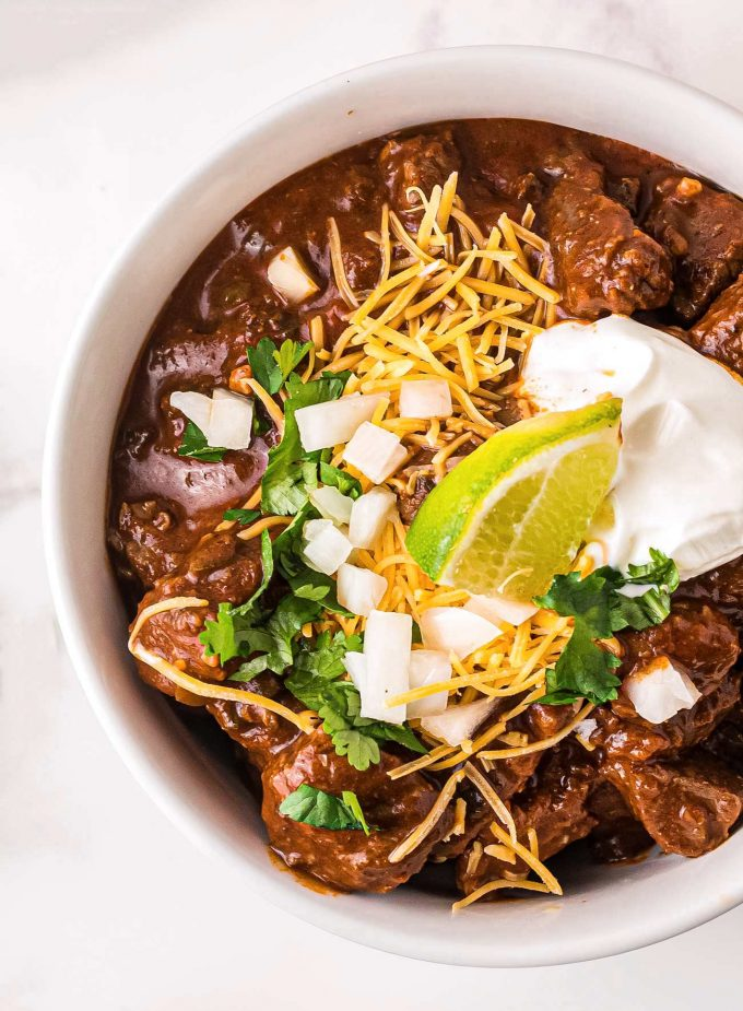 close up of a bowl of texas style chili