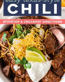 Texas-Style Chili recipe is thick and meaty, smoky and spicy. This chili has no beans, but instead has a rich beefy gravy and chunks of seared beef that are slow simmered until perfectly tender. #texaschili #chili #nobeanchili #comfortfood #dutchoven #slowcooker