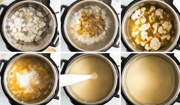 step by step how to make instant pot cauliflower soup