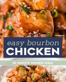 This recipe for Bourbon Chicken is so easy to make, with tender, juicy bites of chicken and a gloriously sweet and sticky sauce that clings to each bite. Make it in just 30 minutes, and you'll have a weeknight dinner the whole family will love! #bourbonchicken #chicken #chickenbreast #bourbon #asian #chinese #takeout #stirfry