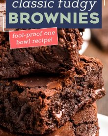 These Classic Fudgy Brownies are made with BOTH cocoa powder and chocolate. Made right in the saucepan, you won't believe how easy it is to make brownies from scratch with dense fudgy centers and shiny, crackly tops! #brownies #dessert #fudgy #fromscratch #dessertrecipes