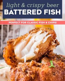 This Beer Battered Fish recipe is crispy and light, and made with an ultra simple batter. Perfect for any fish and chips feast, as well as a fish fry for Lent! #fish #seafood #cod #fishandchips #fried #crispy #beerbattered