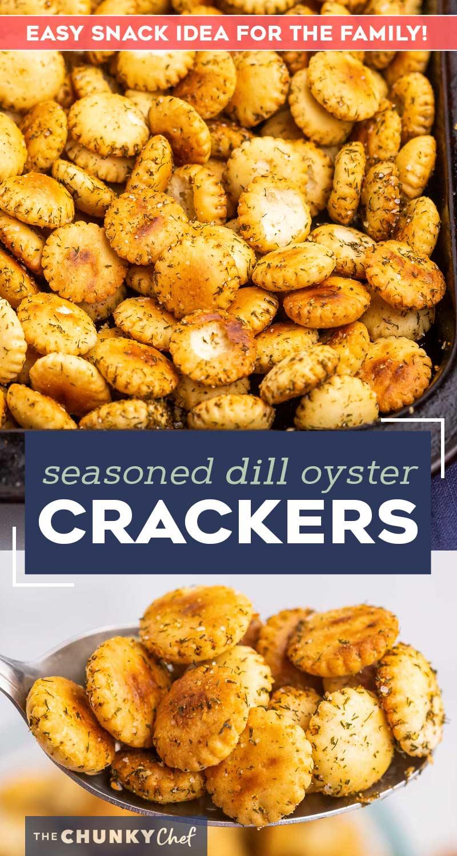 Ces craquelins aux huîtres assaisonnées à l'aneth sont la collation audacieuse et satisfaisante dont vous rêvez!  Des assaisonnements simples, des craquelins aux huîtres et un peu d'huile sont mélangés puis cuits au four jusqu'à ce qu'ils soient croustillants et fabuleux!  #snack #appetizer #oystercrackers #crackers #dill #seasoned
