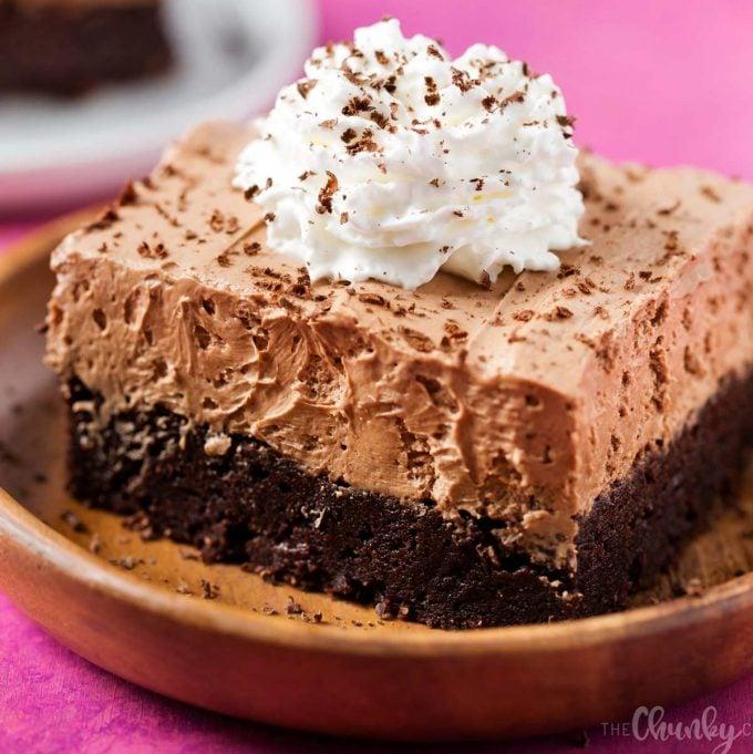 french silk pie brownie on plate