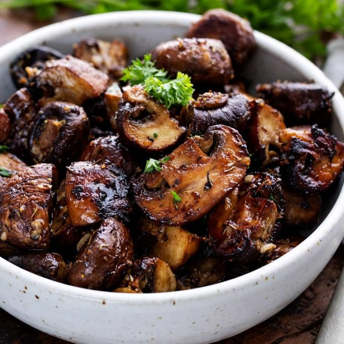 roasted mushrooms in bowl