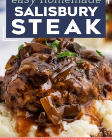 Salisbury Steak is an easy comfort food dinner that's reminiscent of tv dinners, but SO much better! Homemade ground beef steaks are smothered in the most amazing mushroom and onion gravy. It's a hearty one pan meal for the whole family. #salisburysteak #beef #groundbeef #dinner #dinnerrecipe #onepan