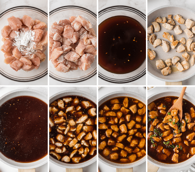 step by step how to make bourbon chicken