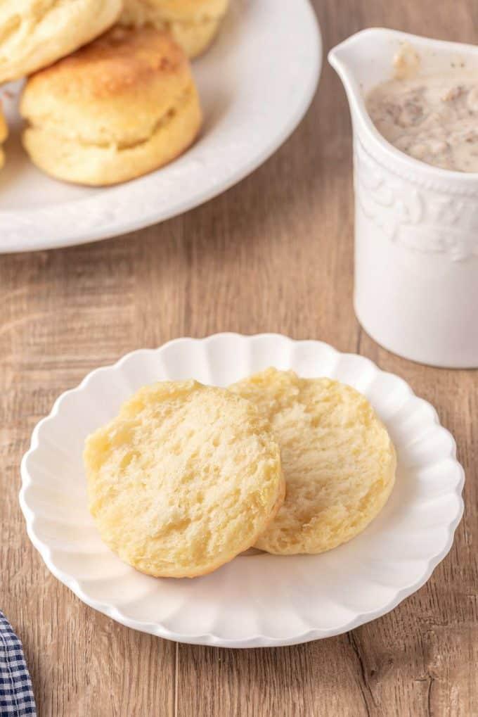 fluffy buttermilk biscuit halves