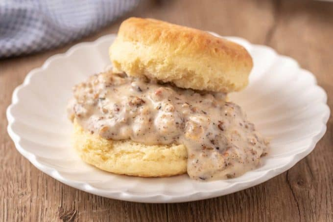 biscuit topped with sawmill gravy