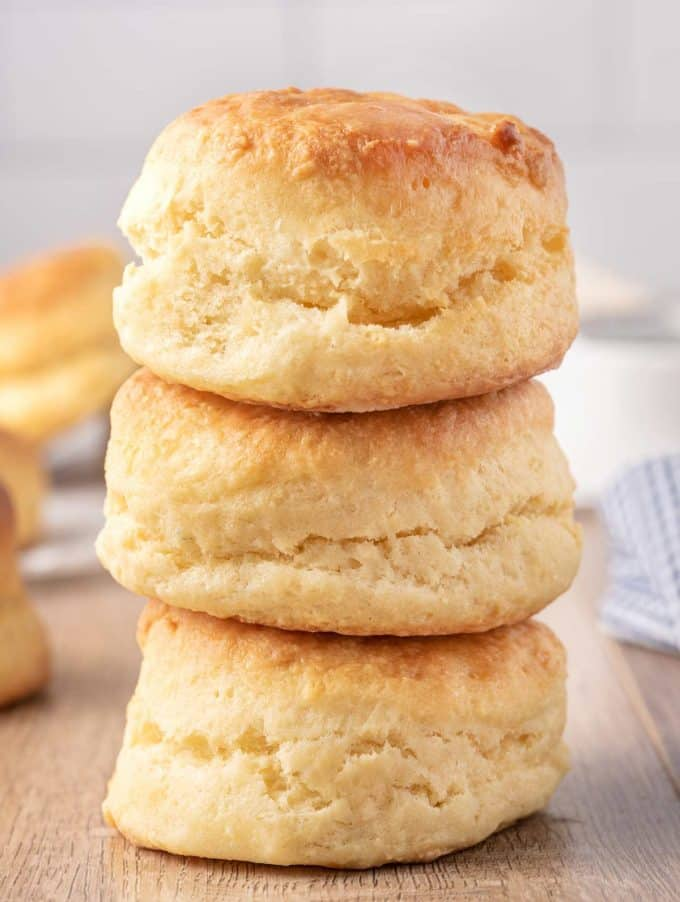 stacked homemade buttermilk biscuits