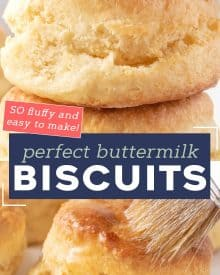 Learn how to make the BEST Buttermilk Biscuits from scratch! They're so light and flaky, and plenty fluffy. Perfect for topping with sausage gravy, butter, honey or jam! #biscuits #biscuitrecipe #buttermilkbiscuits