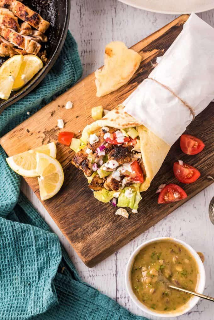 chicken shawarma wrap on cutting board
