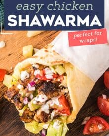 This Easy Chicken Shawarma is perfect for grilling season! The chicken is bathed in an aromatic Middle Eastern inspired marinade, then grilled/cooked to charred perfection. It's perfect in wraps and drizzled with either a tangy yogurt or tahini sauce! #shawarma #chickenshawarma #chickenrecipe
