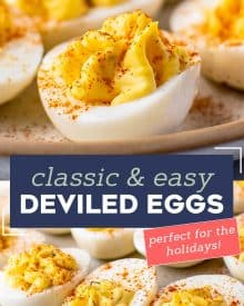 These Classic Deviled Eggs are so creamy, full of flavor, and easy to make. Perfect for a bbq, potluck, holidays, and more! This is a base recipe that you can play around with and add fun flavors to! #deviledeggs #deviled #hardboiledeggs