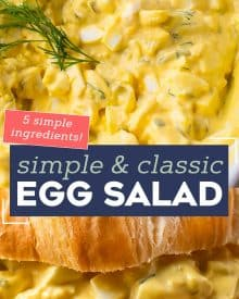 This Classic Egg Salad recipe is perfectly seasoned and creamy, and so simple to make! We love using leftover Easter eggs to make this salad, but it's a great year-round sandwich idea! #eggsalad #hardboiledeggs #easter