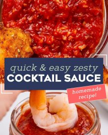 Making your own Homemade Cocktail Sauce is SO easy. Just mix together and chill, then you'll have the best tasting and and zesty cocktail sauce you've ever had! #cocktailsauce #sauce #shrimpcocktail #shrimp #homemaderecipe #easyrecipe