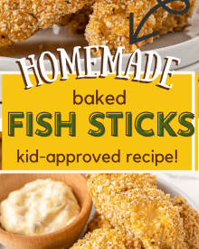 These Parmesan Baked Fish Sticks are so crispy on the outside and flaky on the inside. Made from real fish filets, this kid-approved and freezer-friendly recipe is so much better than any box from the frozen foods section! #fishsticks #bakedfish #crispyfish #homemaderecipe
