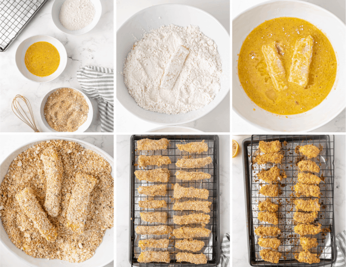 step by step how to make fish sticks - image collage