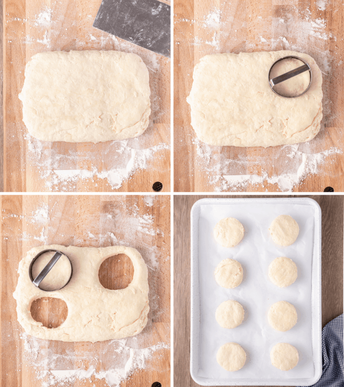 cutting biscuit dough