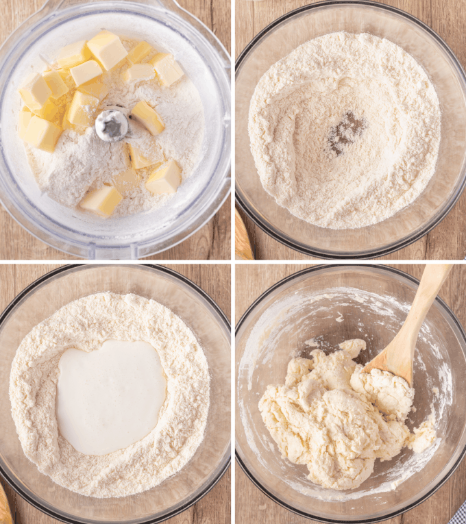 step by step how to make biscuit dough - image collage