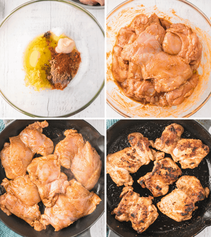 step by step how to make chicken shawarma - image collage