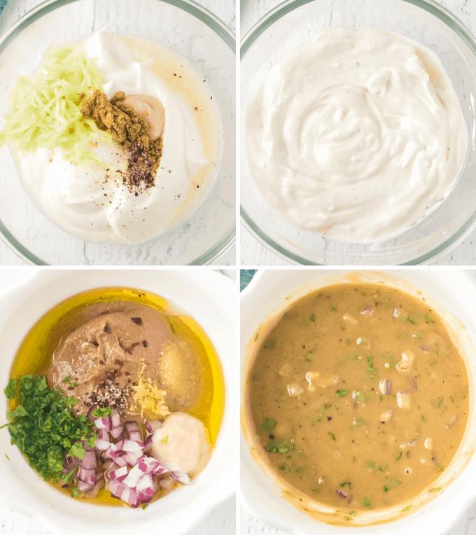 step by step how to make yogurt and tahini sauce - image collage
