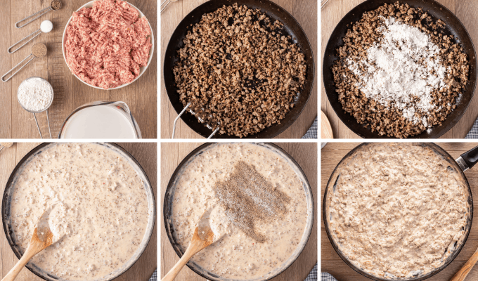 step by step how to make sausage gravy - image collage