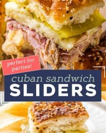 These Cuban Sliders are a fun appetizer version of the classic Cuban sandwich! Loaded with ham, pulled pork, mustard sauce, cheese and pickles, you'll love every bite of these delicious crowd-pleasing sliders. #sliders #cuban #ham #pork #appetizers #fingerfoods #partyfood