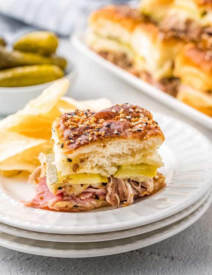 cuban slider sandwich on a plate