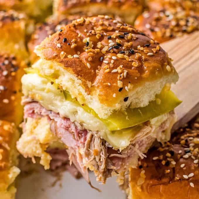 serving a cuban slider sandwich