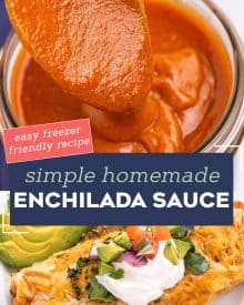 This easy Homemade Red Enchilada Sauce is made with simple pantry ingredients and ready in about 15 minutes! Once you try homemade, you won't ever want to buy enchilada sauce again. #enchiladasauce #enchiladas #homemade #pantryrecipe #mexican