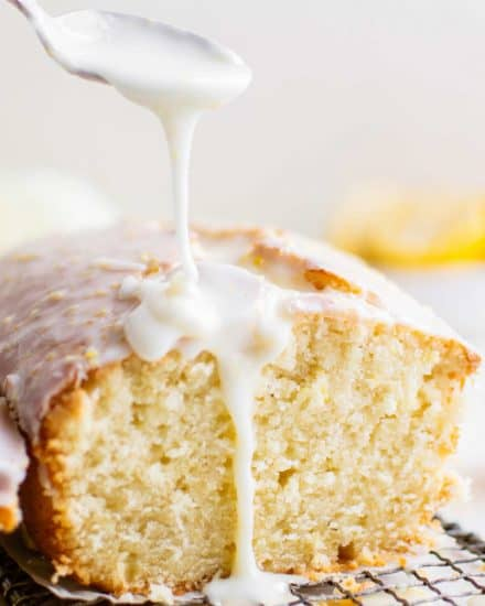 This moist and fluffy Lemon Pound Cake is so easy to make from scratch, and absolutely bursting with bright lemon flavors! The sweet lemon glaze really takes this cake over the top. If you're a fan of Starbucks Lemon Loaf, this lemon pound cake is for you! #poundcake #lemon #dessert #loaf #cake #fromscratch