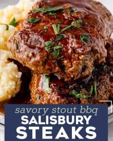This fun take on classic salisbury steak is an easy comfort food dinner! Homemade ground beef steaks are smothered in the most amazing stout and onion bbq gravy. It's a hearty one pan meal for the whole family. #salisburysteak #beef #groundbeef #dinner #dinnerrecipe #onepan #stout #bbq #guinness