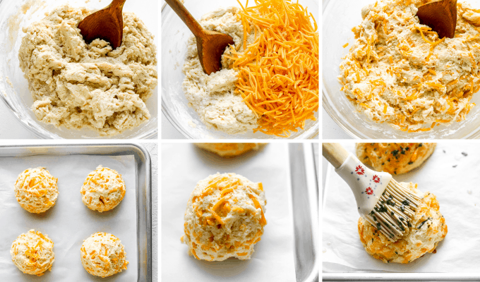 step by step how to make cheddar bay biscuits - image collage