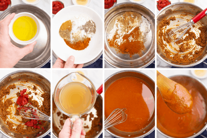 step by step how to make enchilada sauce - image collage
